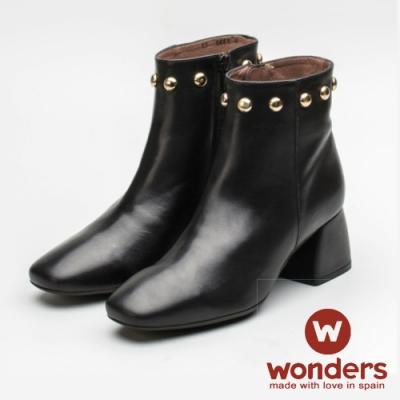 WONDERS-復古小方頭踝靴 黑