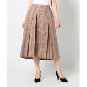 (MEW'S REFINED CLOTHES/ミューズ リファインド クローズ)チェック柄ヘムタックスカート/レディース ベージュ