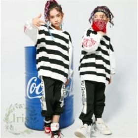 キッズ ダンス衣装 子供 HIPHOP 男女兼用 セットアップ  2点セット  長袖 長ズボン ジャズダンス  韓国服  練習着 ステージ衣装