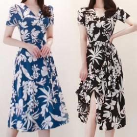 韓国 ファッション ワンピース ひざ下丈 Vネック 半袖 花柄 大人可愛い セクシー フェミニン ガーリー 春夏