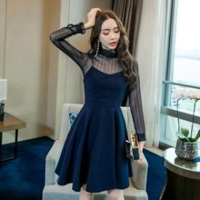 韓国 ファッション ワンピース ショート丈 Aライン シースルー 大人可愛い フォーマル セクシー フェミニン ガーリー 春夏