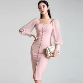韓国 ファッション ワンピース ひざ下丈 シースルー 大人可愛い フォーマル セクシー フェミニン ガーリー 春夏