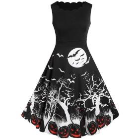 結婚式 ワンピース ドレスハロウィン レース 花柄 ハロウィン 袖なし Oネック ビンテージ ノベルティ ボールガウン パッチワークお祭り 友達揃い 旅行 お呼ばれ 食事会 パーティー 演劇 夏 Evening Party Halloween Pumpkin Dresses For Women (L, ブラック)