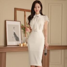 韓国 ファッション ワンピース ひざ丈 半袖 大人可愛い フォーマル セクシー フェミニン ガーリー 春夏