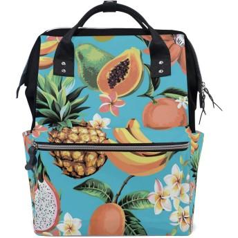 ママリュック パイナップル バナナ 花 ミイラバッグ デイパック レディース 大容量 多機能 旅行用 看護バッグ 耐久性 防水 収納 調整可能 リュックサック 男女兼用