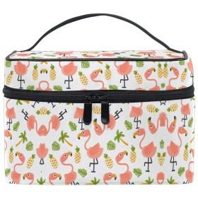 かわいいフラミンゴアート化粧品袋オーガナイザージッパー化粧バッグポーチトイレタリーケースガールレディース