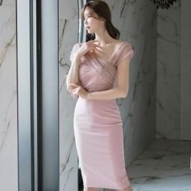 韓国 ファッション ワンピース ひざ下丈 半袖 大人可愛い フォーマル セクシー フェミニン ガーリー 春夏