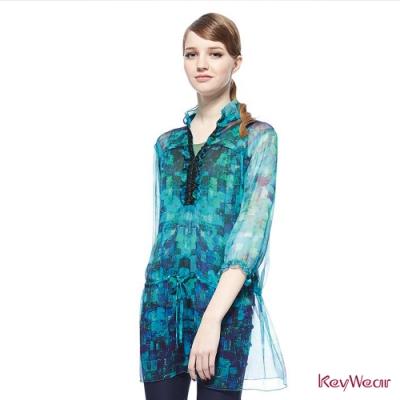 KeyWear奇威名品    波希米亞絲質數位印花上衣-藍綠色