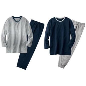 【レディース】 綿100%お得な4点セットパジャマ(男女兼用)(長袖&長パンツ2セット) - セシール ■カラー:A ■サイズ:3L,S,LL,M,L