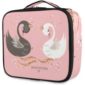 Kaaridream メイクボックス プロ用 便携式 大容量 機能的 化粧ポーチ白鳥 アニマル ピンク かわいい 可愛いコスメ収納ボックス 仕切り 化粧 メイクケース 出張 海外旅行 携帯用 化粧品収納