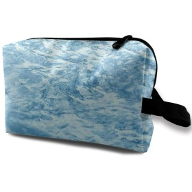白い波柄 化粧品袋 トラベルコスメティックバッグ 防水 大容量 荷物タグ付き 旅行収納ポーチ アレンジケース パッキングオーガナイザー 出張 旅行 衣類収納袋 スーツケース整理 インナーバッグ メッシュポーチ 収納ポーチ