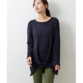起毛素材 裾タックニットソートップス (Tシャツ・カットソー)(レディース)T-shirts