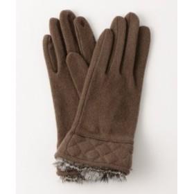 (green label relaxing/グリーンレーベルリラクシング)[タッチパネル対応]手袋 CS SP/ラビットファーキルティング グローブ/レディース MOCA