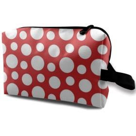 白い点 丸 赤 化粧品袋 トラベルコスメティックバッグ 防水 大容量 荷物タグ付き 旅行収納ポーチ アレンジケース パッキングオーガナイザー 出張 旅行 衣類収納袋 スーツケース整理 インナーバッグ メッシュポーチ 収納ポーチ