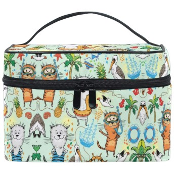 アートキャットクレーン化粧品袋オーガナイザージッパー化粧バッグポーチトイレタリーケースガールレディース