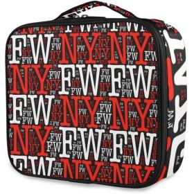 KAPANOU プロ用 メイクボックス 黒の背景にNyfw言葉イラスト 多機能 高品質 美容師 マニキュリスト 刺青師 専用 化粧ボックス メイクアップアーティスト 収納ケース メイクブラシ 化粧道具 大容量