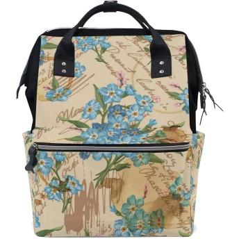 おむつバッグアートブルーフローラルおむつ バッグ バックパック ママバッグ カジュアル 軽量 大容量 トラベル マミー用