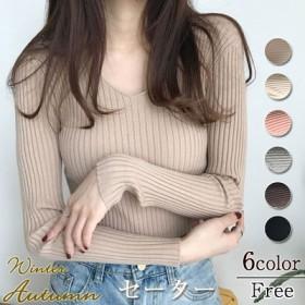 韓国ファッション★バッグの芯の紗は/秋の新型長袖Vネックカバーの頭は底のシャツのニットのセーターの女性を打ちます