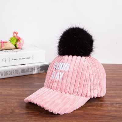 Redberry 燈心絨字母棒球帽 潮帽 毛球帽 燈心絨 厚 秋冬 可調整 6色系