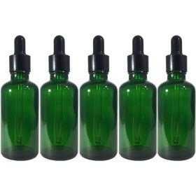 スポイト 付き 遮光瓶 5本セット ガラス製 アロマオイル エッセンシャルオイル アロマ 遮光ビン 保存用 精油 ガラスボトル 保存容器詰め替え 緑 グリーン (50ml)