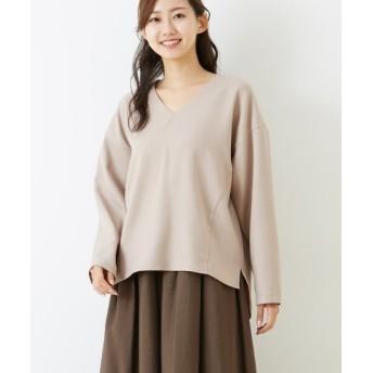 ウール調素材シンプルなVネックブラウス (ブラウス)Blouses, Shirts