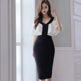 韓国 ファッション ワンピース ひざ下丈 半袖 フレア袖 袖フリル 大人可愛い フォーマル セクシー 春夏