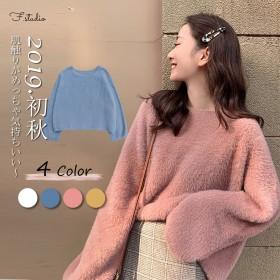 2019 新型の秋のウサギの毛のテンの绒のニットセーターの长袖の上着