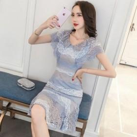 韓国 ファッション ワンピース ショート丈 半袖 大人可愛い フォーマル セクシー フェミニン ガーリー 春夏
