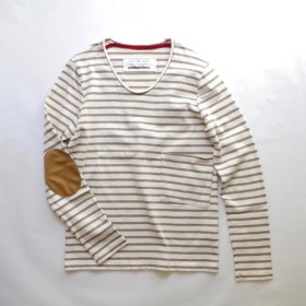 <新色!> 秋冬用 ボーダーポケットロンT (off white × khaki)