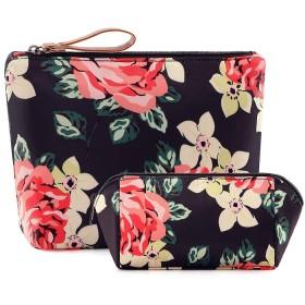 HOYOFO メイクポーチ 大容量 トイレタリーバッグ 花柄 メイク収納 小物入れ 普段使い 旅行 洗面 化粧 2点セット