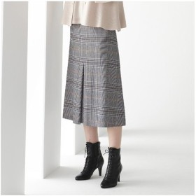 Liliane Burty / リリアンビューティ イタリア製ストレッチチェック センタープリーツスカート