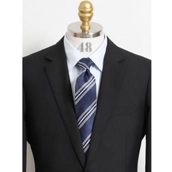 【TAKA-Q:スーツ・ネクタイ】アイスカプセル シルクストライプ柄ナローネクタイ7.5cm幅