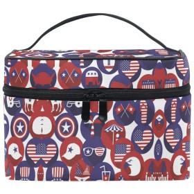 アメリカの国旗物事化粧品袋オーガナイザージッパー化粧バッグポーチトイレタリーケースガールレディース