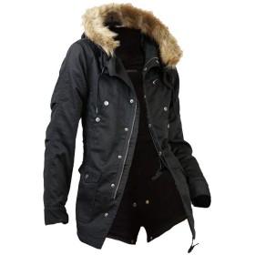 (メンズナーレ) MensNare モッズコート メンズ コート ファー付 ミリタリー 裏ボア A251025-01 ブラック 3L