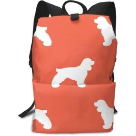 コッカースパニエルシルエット犬の品種スカーレットミドルスクールバックパックティーンラージカジュアルカジュアル耐久性デイパック旅行リュックサック