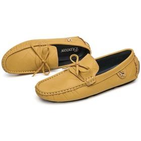 [ZJHZ] ビジネスシューズ メンズ ローファー 革靴 イエロー 職場用 就活 防水 紳士靴 通気性がよい 屈曲性 スニーカー 無地 耐摩耗性 柔 ソフトボトム スリッポン 24.5cm モカシン 大きいサイズ 履き心地良い おしゃれ 高級