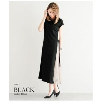 【追加入荷】サイドプリーツ切替カットソーワンピース (ワンピース)Dress, 衣裙, 連衣裙
