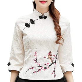 Keaac Womens Vintage Style Long Sleeve Slim Fit Chinese Shirt Tang Qipao Top Blouse Apricot L
