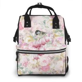 万洋 最新旅行 通勤 個性的 多機能レジャーバッグ リュック マザーズバッグ ベビー用品収納 出産準備 防水盗難防止ポケット シンプル大容量手提げ袋 かわいい -バラの花の鳥の絵