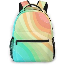男女兼用のかわいい カジュアルバック パック リュックサック ファッションバッグ 旅行バックパック カレッジバッグ スポーツ ハイキング アウトドア 人気 高校生 中学生 大学生 通学通勤 大容量 虹色の波