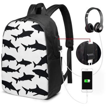 White Shark,白サメ USBバックパッククラシックコンピューターバッグ17インチラップトップバックパック旅行ビジネスラップトップバックパックユニセックス大容量で耐久性のあるバックパック