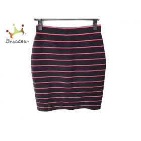 ニジュウサンク 23区 スカート サイズ36 S レディース 美品 ダークネイビー×ピンク ボーダー 新着 20190920