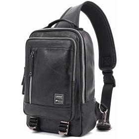 ボディバッグ メンズ ワンショルダー 斜めがけバッグ 大容量 防水 レザー iPad おしゃれ 縦型 軽い 通勤 Tanoshia (ブラック)