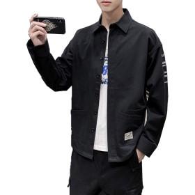 Hisitosa シャツ メンズ 長袖 綿 カジュアル おしゃれ 大きいサイズ オックスフォード シャツ 春 夏 秋 冬 (ブラック(02), XL)