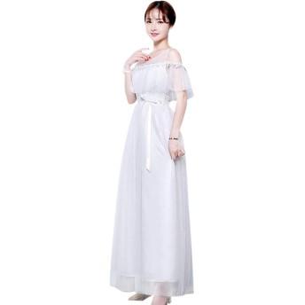 KINDOYO レディース ドレス - 披露宴 ロングドレス 結婚式 イブニング パーティードレス 5スタイルご利用いただけます 大きいサイズ, ホワイト-3/XL