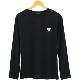 GUESS(ゲス) ロング スリーブ Tシャツ ロンT ブランドロゴ バックプリント ビッグシルエット 長袖 MJ3K8514MI ブラック ホワイト (ブラック, XL)