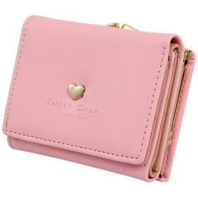 ほうねん堂 がま口 財布 レディース 小銭入れ カード入れ 3つ折り コンパクト 札入れ 単財布 (ハート ピンク)