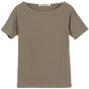 [神戸レタス] レディース 前身二重 半袖 Tシャツ カットソー リブ [C3654] L Bネックカーキ