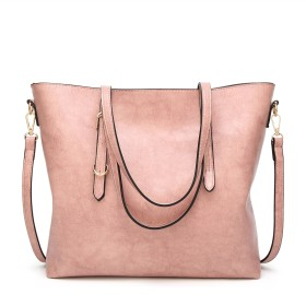 諸葛·チューコー 女性のクロスボディバッグオイルスキントートバッグファッションシングルショルダー斜めハンドバッグ (Color : Pink, Size : M)
