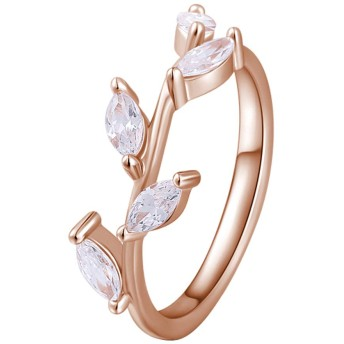 SOUFEEL <蔓> レディース リング シンプル 指輪 ジルコン ファッション デザイン 人気 華奢 シルバーリング 925 婚約 結婚 婚約指輪 ピンクゴールド サイズ 18
